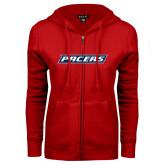 ENZA Ladies Red Fleece Full Zip Hoodie-Pacers