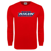 Red Long Sleeve T Shirt-USC Aiken Pacers Stacked