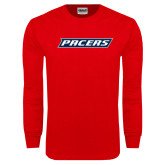 Red Long Sleeve T Shirt-Pacers