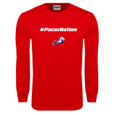 Red Long Sleeve T Shirt-Pacer Nation
