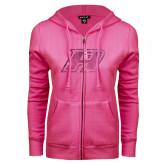 ENZA Ladies Fuchsia Fleece Full Zip Hoodie-A