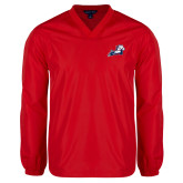 V Neck Red Raglan Windshirt-Secondary Mark