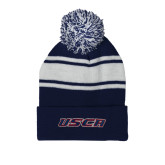 Navy/White Two Tone Knit Pom Beanie w/Cuff-USCA