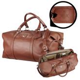 Cutter & Buck Brown Leather Weekender Duffel-Square and Compass with G Engraved