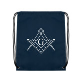 Navy Drawstring Backpack-Square and Compass with G