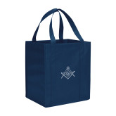Non Woven Navy Grocery Tote-Square and Compass with G