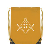 Gold Drawstring Backpack-Square and Compass with G