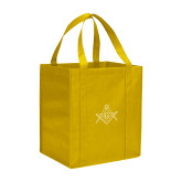 Non Woven Gold Grocery Tote-Square and Compass with G