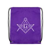Purple Drawstring Backpack-Square and Compass with G