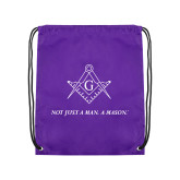 Purple Drawstring Backpack-Not Just A Man A Mason
