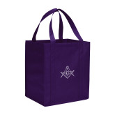 Non Woven Purple Grocery Tote-Square and Compass with G