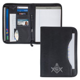 Wall Street Black Zippered Padfolio-Square and Compass with G