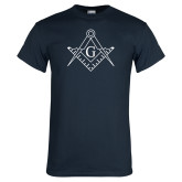Navy T Shirt-Square and Compass with G