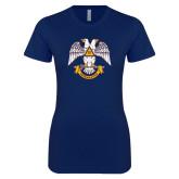 Next Level Ladies SoftStyle Junior Fitted Navy Tee-Freemasons