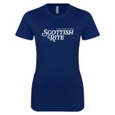 Next Level Ladies SoftStyle Junior Fitted Navy Tee-Scottish Rite