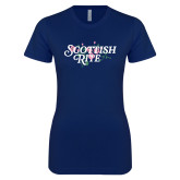 Next Level Ladies SoftStyle Junior Fitted Navy Tee-Scottish Rite Pink Floral