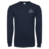 Navy Long Sleeve T Shirt-Square and Compass with G