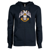 ENZA Ladies Navy Fleece Full Zip Hoodie-Freemasons
