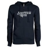 ENZA Ladies Navy Fleece Full Zip Hoodie-Scottish Rite
