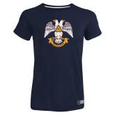 Ladies Russell Navy Essential T Shirt-Freemasons