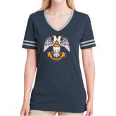 Ladies Navy Heather/Grey Tri Blend Varsity Tee-Freemasons
