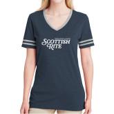 Ladies Navy Heather/Grey Tri Blend Varsity Tee-Scottish Rite