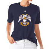 Ladies Under Armour Heather Navy Triblend Tee-Freemasons