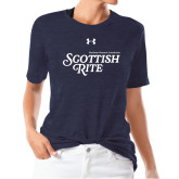 Ladies Under Armour Heather Navy Triblend Tee-Scottish Rite