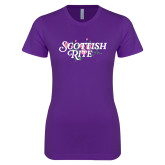 Next Level Ladies SoftStyle Junior Fitted Purple Tee-Scottish Rite Pink Floral