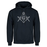Navy Fleece Hoodie-Square and Compass with G