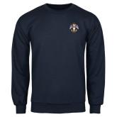 Navy Fleece Crew-Deus Meumque Jus