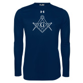 Under Armour Navy Long Sleeve Tech Tee-Square and Compass with G
