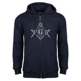 Navy Fleece Full Zip Hoodie-Square and Compass with G