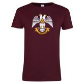 Ladies Maroon T Shirt-Freemasons