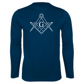 Performance Navy Longsleeve Shirt-Square and Compass with G