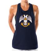 Ladies Under Armour Navy Pinhole Tank-Freemasons
