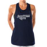 Ladies Under Armour Navy Pinhole Tank-Scottish Rite