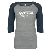 ENZA Ladies Athletic Heather/Navy Vintage Baseball Tee-Scottish Rite