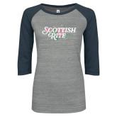 ENZA Ladies Athletic Heather/Navy Vintage Baseball Tee-Scottish Rite Pink Floral