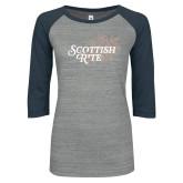 ENZA Ladies Athletic Heather/Navy Vintage Baseball Tee-Scottish Rite Mauve Floral