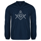 V Neck Navy Raglan Windshirt-Square and Compass with G
