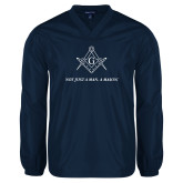 V Neck Navy Raglan Windshirt-Not Just A Man A Mason