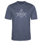 Performance Navy Heather Contender Tee-Square and Compass with G