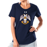 Ladies Under Armour Navy Charged Cotton Tee-Freemasons