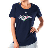 Ladies Under Armour Navy Charged Cotton Tee-Scottish Rite Pink Floral