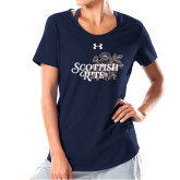 Ladies Under Armour Navy Charged Cotton Tee-Scottish Rite Mauve Floral