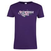 Ladies Purple T Shirt-Scottish Rite Pink Floral