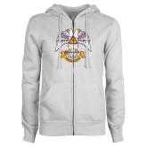 ENZA Ladies White Fleece Full Zip Hoodie-Freemasons