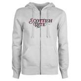 ENZA Ladies White Fleece Full Zip Hoodie-Scottish Rite Pink Floral