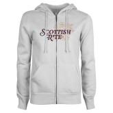 ENZA Ladies White Fleece Full Zip Hoodie-Scottish Rite Mauve Floral